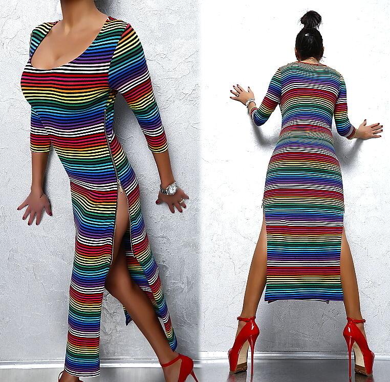NEU FAMOUS BRIGHT FASHION SUPER SEXY FIT H35 DAMEN TOP ZIP DRESS KLEID S M