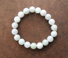 Natural Beautiful Jadeite Jade Stretchy Bangle Bracelet 50mm Round Beads White A