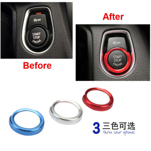 Car One Buttons Start Stop Engine Switch StickerTrim Cricle Fit For BMW 1 2 3 4
