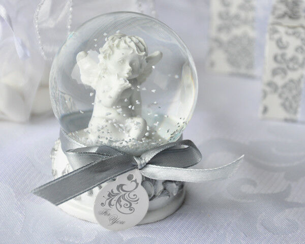 18 Angel Cherub Snow Globe Christening Communion Baptism Baby Shower Favor Gift