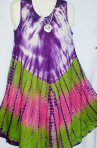 Womens Dress Mumu Blue Green Tie Dye Print Free Size Fits Size 1X 2X