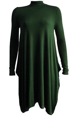 Womens Polo Neck Flared Swing Dress Ladies Turtle Neck Hanky Hem Long Dress 8-26