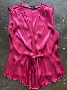 Premise pleated hot pink satin top small