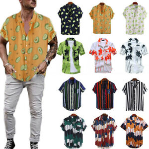 Men-039-s-Hawaiian-Floral-T-Shirt-Summer-Short-Sleeve-Beach-Party-Casual-Tops-Blouse