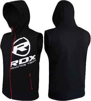 RDX Sleeveless Hoodie MMA Boxing T-Shirt Shorts Gym Vest Men Sweat UFC Jumper BK