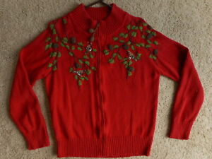 Red-Birds-Pine-Cone-Grandma-sweater-Coldwater-Creek-Sz-Large-Zipper-Cotton-Blend