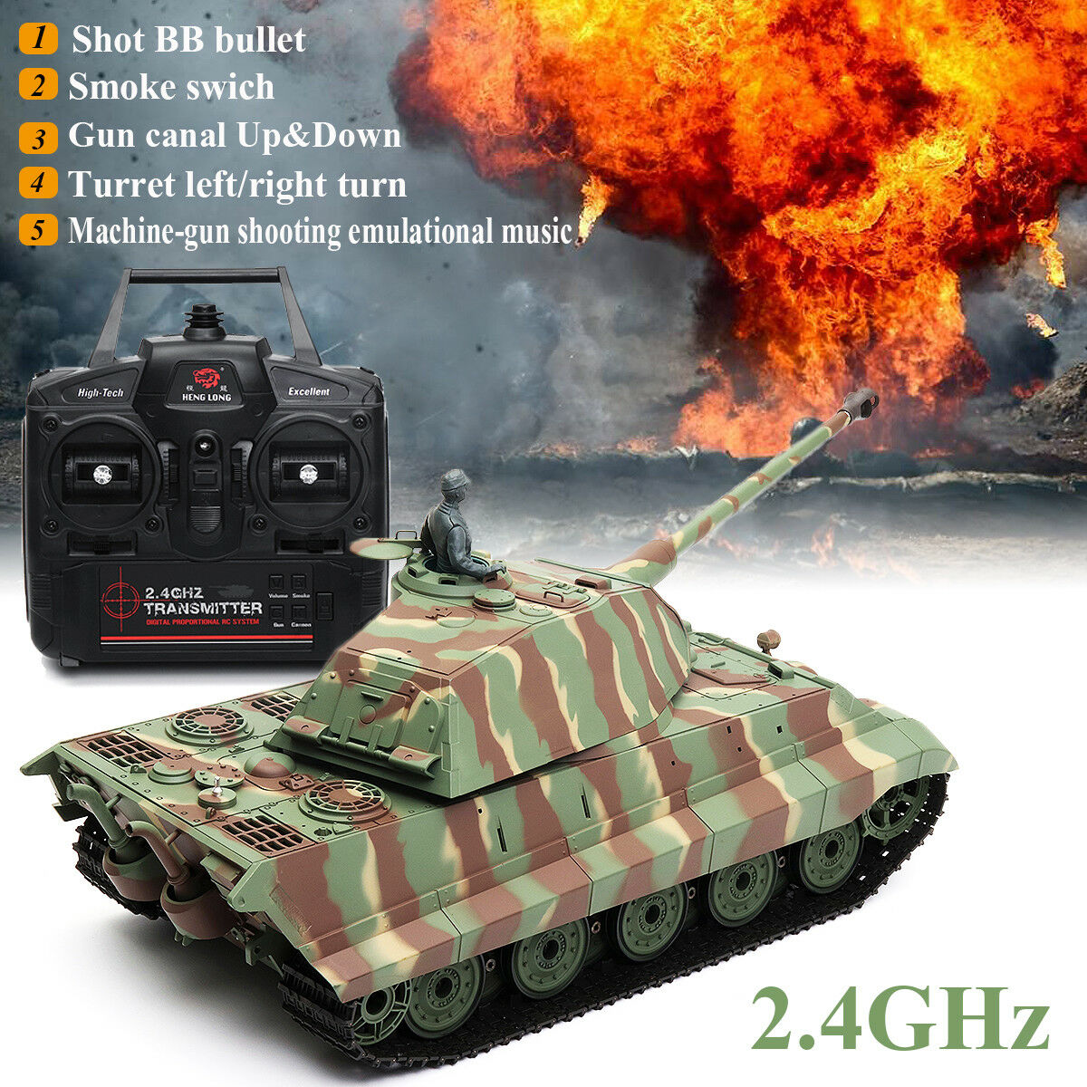 Radio Remote Control RC Tank with BB Firing Realistic Sound LARGE Heng Long 1 16