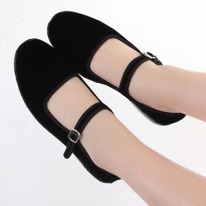 Black Velvet Mary Jane Chinese Shoes