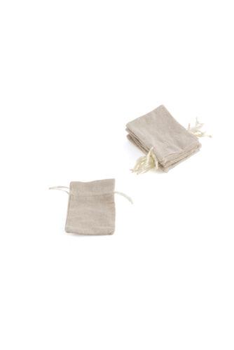 Bolsa favor Algodón Lino Con Cordón pequeño paquete de 12