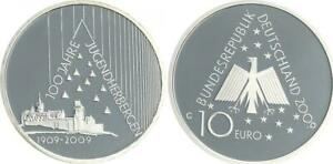 10-Euro-Jugendherbergen-2009-Munzzeichen-G-Polierte-Platte-in-Munzkapsel