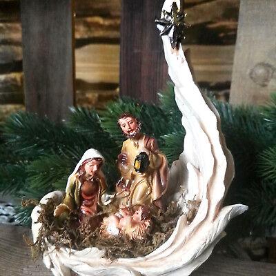 Engelsflügel Krippenset Figur Krippe Weihnachtskrippe Krippenszene Maria Josef S