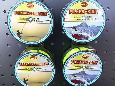 WFT Zielfisch-Angelschnur Brandung Pilken und Boot Gelb 0,35// 0,40// 0,50 monofil