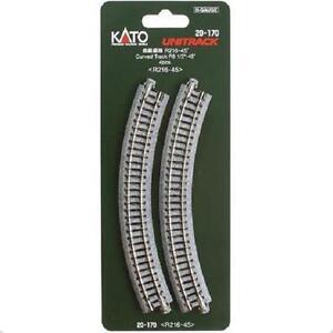 Kato-20-170-Rail-Courbe-Curve-Track-R216mm-45-4pcs-N