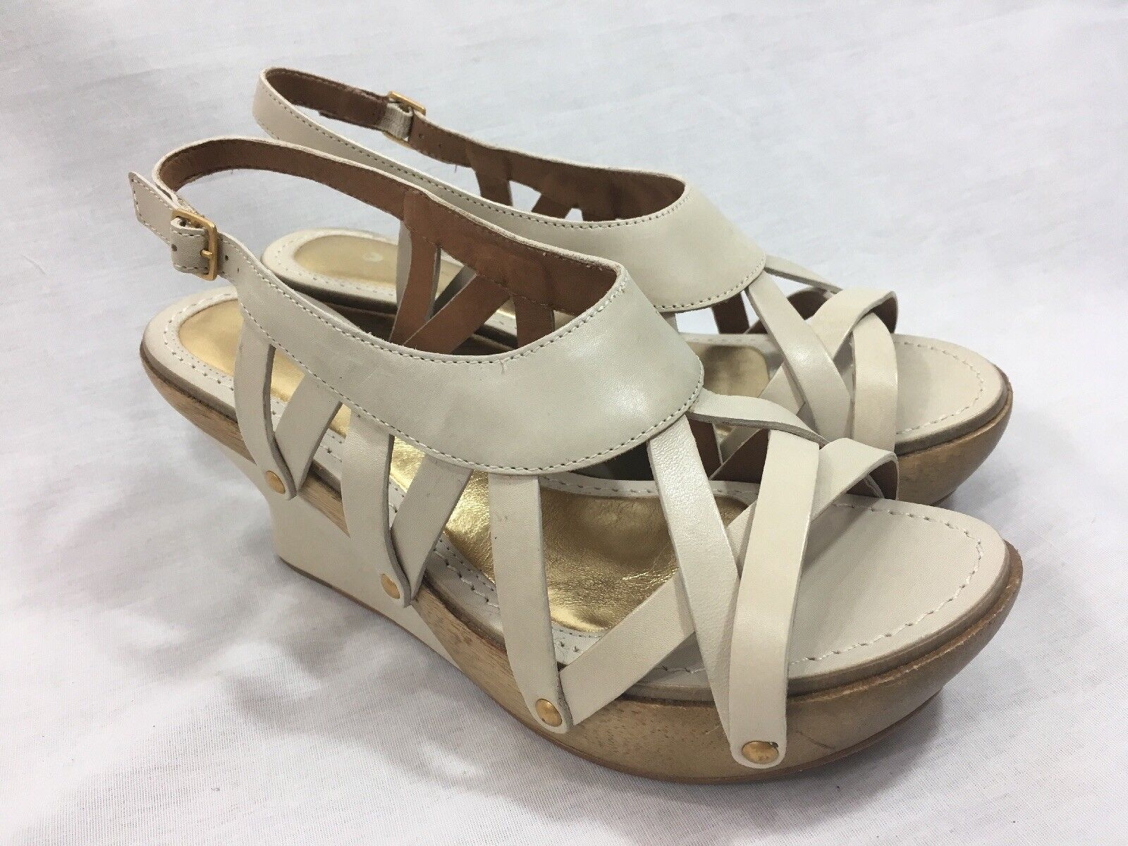 NEW Anthropologie Leifsdottir Oiva Leather Womens Stucco Sandals Wedge Heel Nude