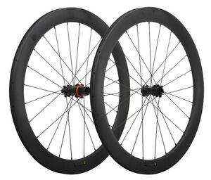 Disc-Brake-Carbon-Road-Bike-Wheels-Clincher-Tubeless-6-bolts-700C-Matt-Rim-50mm