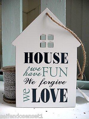 House Love Fun shabby chic Schriftzug Holzschild Schild Schrift Spruch weiß blau