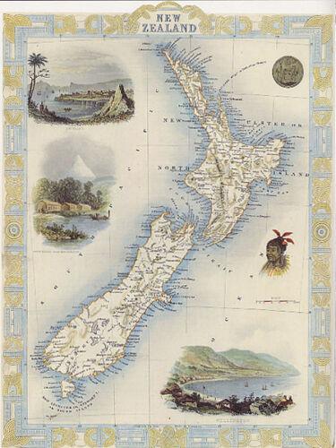 1800/'S MAP NEW ZEALAND CITIES WELLINGTON EGMONT MT BIRD EYE VIEW REPRO POSTER