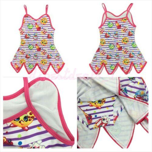 2017 New Kids Girl/'s Cartoon Print Shopkins Girls Swimsuit One piece Dress 4T-10