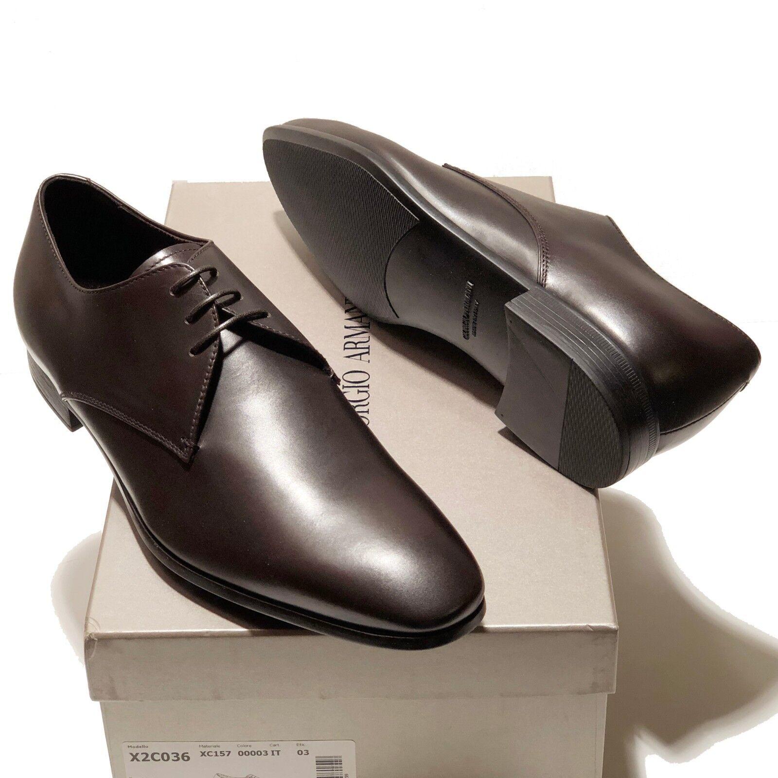 Giorgio Armani ITALY Brown Men's Leather Formal Dress Oxford Men's Brown Shoes X2C036 Tuxedo 82210e