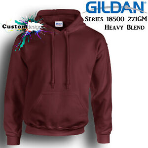 Gildan-Maroon-Hoodie-Heavy-Blend-Basic-Hooded-Sweat-Mens-Pullover-Shirt