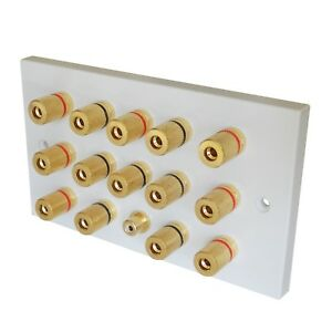 Details about Speaker Plate Faceplate Outlet with Gold Posts for 7 1  Surround Sound System