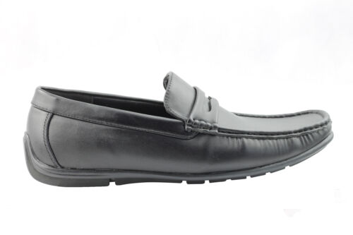 Mens Faux Leather Black Casual Vintage Penny Loafer Shoes UK 9 10 11 12 13 13.5