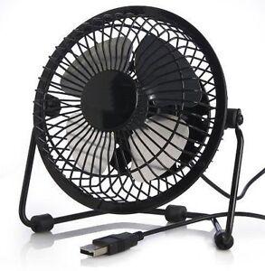 Mini usb portable alimenté de bureau ventilateur noir (lames en acier)  </span>