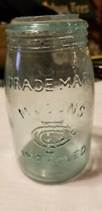 Nice-Blue-Midget-Mason-039-s-Improved-Fruit-Jar-Sheared-Top