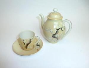 Asiatika: Japan Ehrlich Teeset Tasse Mokkatasse Kanne Eierschalenporzellan Japan Meiji Um 1900 Hohe Sicherheit Antiquitäten & Kunst