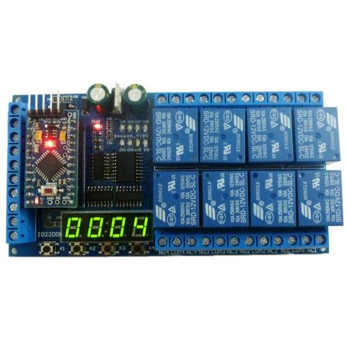 8ch DC 12V Pro mini Relay Shield Module PLC Timer Board for Arduino UNO MEGE2560