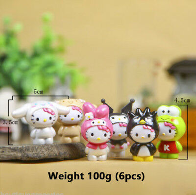 Animation Art & Characters 6pcs/sets Japan Anime The Frog Hello Kitty Cute Cat Figure Doll New Kids Gift Refreshing And Beneficial To The Eyes Animation Characters