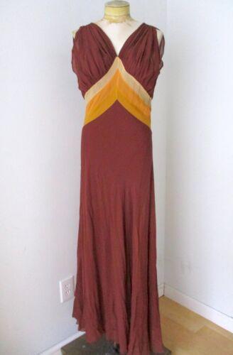 Vtg 20s 30s brown orange stripe silk chiffon bias