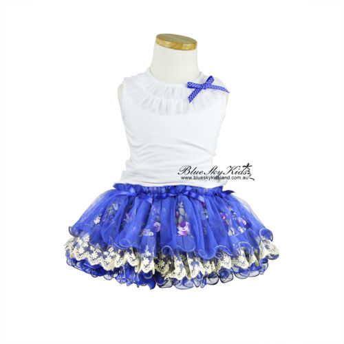 NEW Girls Skirt TuTu Kids Dance Dress 3M-6Y in PINK Blue many lace tulle layers