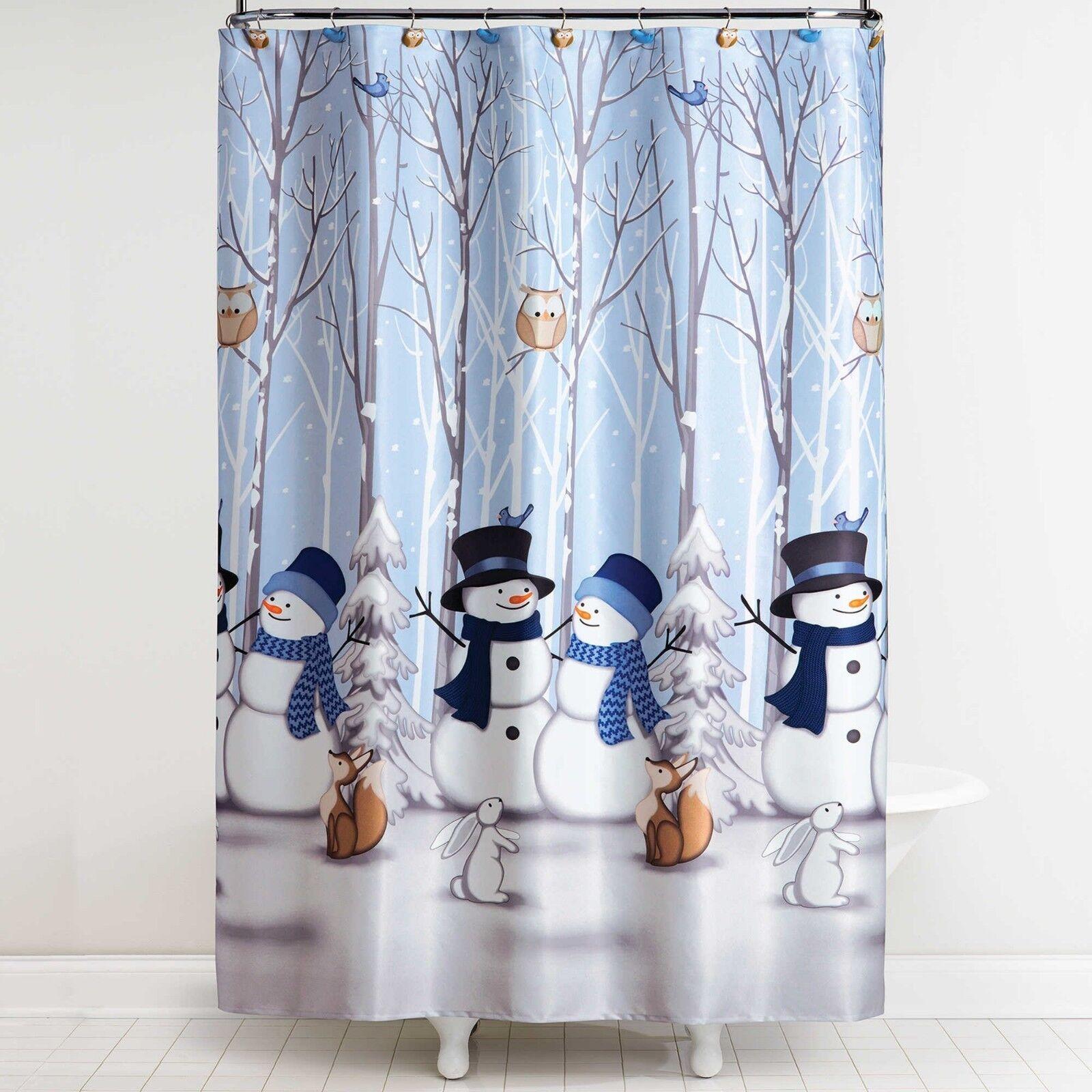 Bed Bath Beyond Winter Holiday Snowman Friends Owl Bird Shower Curtain Hooks