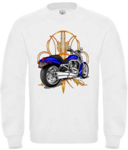 /& Old School Motif Model V Rod Pinst Sweatshirt in White with Biker Chopper