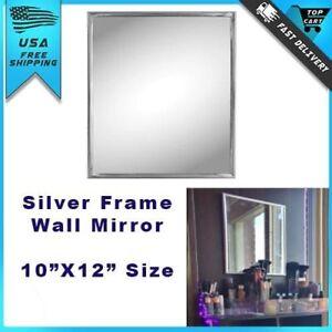 Small wall mount mirror modern silver frame trim bathroom - Decorative trim for bathroom mirrors ...