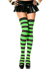 Wide Stripe Thigh High Stockings Black Neon Colors Rave Halloween Witch Costume