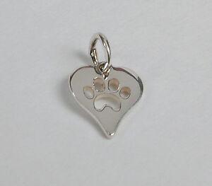 Sterling-Silver-Mini-Heart-amp-Dog-Paw-Print-Charm-Free-U-S-Ship-amp-Zipper-Pull