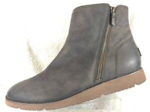 4ad79a12767 Details about Ugg Greer Side Zip Brown Leather Pure Wool Lining Casual  Ankle Boot Shoes Men 14