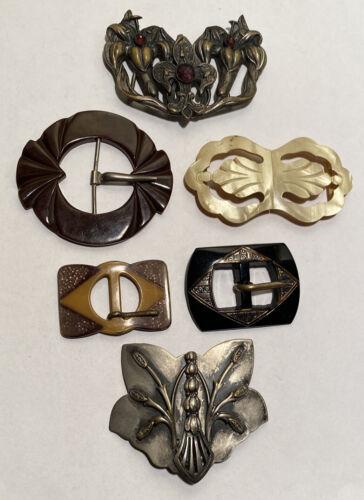6 Antique Vintage Buckles Bakelite-Celluloid-Glass