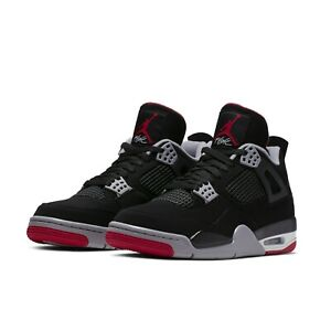 low priced 551b4 ffd08 Details about Nike Mens Air Jordan 4 IV Retro Black Red Bred OG 2019 AJ4  308497-060