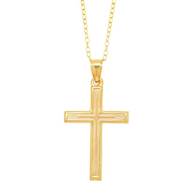 Ribbed Cross Pendant in 10K Gold on Gold-Filled Chain