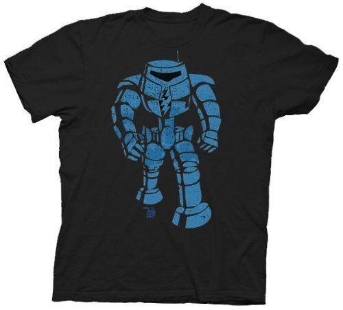 Adult Black Ames Bros Blue Man-Bot Robot Vintage Graphic Cotton T-shirt Tee