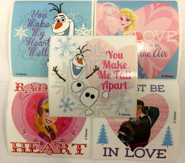 15 Disney Frozen Valentine's Day Stickers Party Favors Elsa Anna Olaf Kristoff