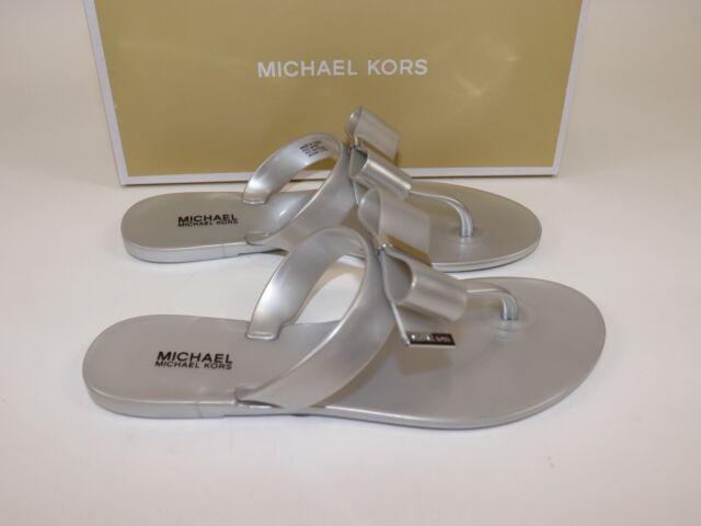 3cc90ac6ae6 Buy Michael Kors Size 6 Women s Silver Kayden Thong Bow Top Sandal ...