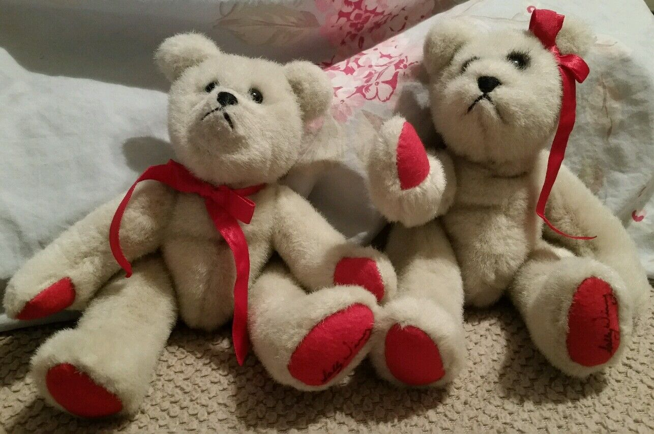 Rare 9  Lot Of 2 signed Sally Winey Bears teddy bears with rosso bows.