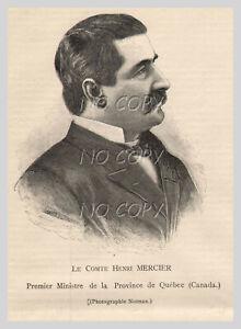 1891-ILLUSTRATION-GRAVURE-PORTRAIT-COMTE-Henri-MERCIER-QUeBEC-CANADA