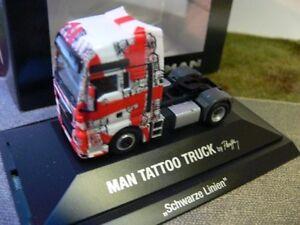 SZM E6 Tattoo-Truck Schwarze Linien 918718 Herpa LKW MAN TG-X XXL//Aerop