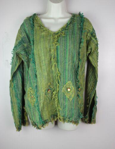 HANDMADE Gypsy Cotton Striped Retro Shirt Kurta Top Festival Boho Funky S50