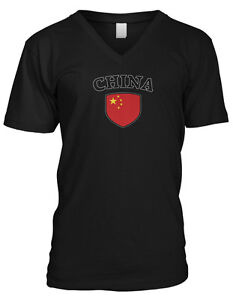 China-Flag-Crest-Chinese-Red-Dragon-National-Country-Pride-Mens-V-neck-T-shirt